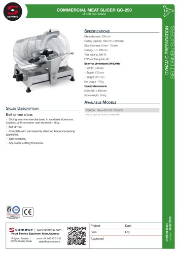COMMERCIAL MEAT SLICER GC-250