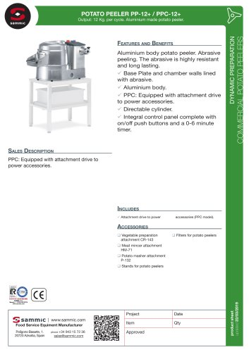 POTATO PEELER PP-12+ / PPC-12+