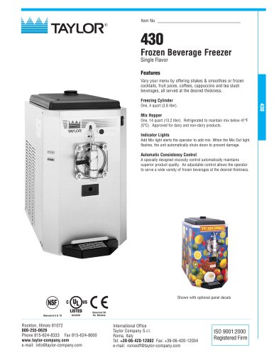 430 Frozen Beverage Freezer