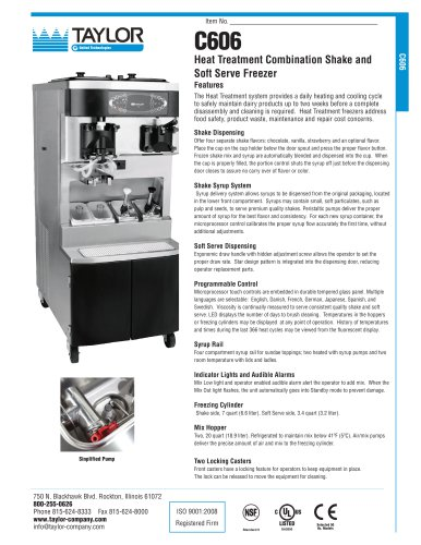 C606 Heat Treatment Combination Shake and  Soft Serve Freezer