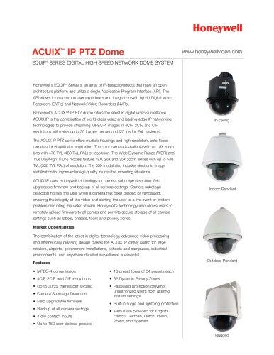 ACUIX IP PTZ Dome Datasheet