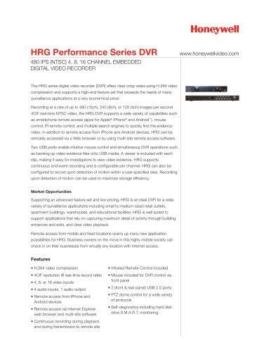 HRG Performance Series DVR Data Sheet