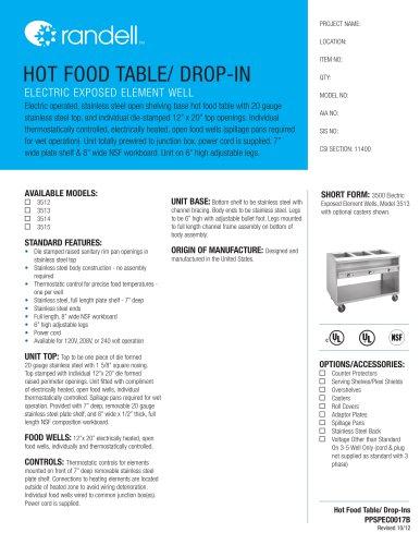 HOT FOOD TABLE/ DROP-IN 3612