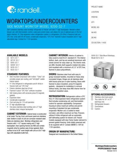 SIDE MOUNT WORKTOP MODEL 9200-32-7