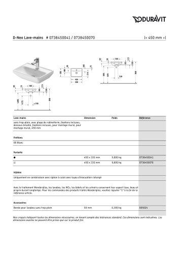 D-Neo Lave-mains # 0738450041 / 0738450070
