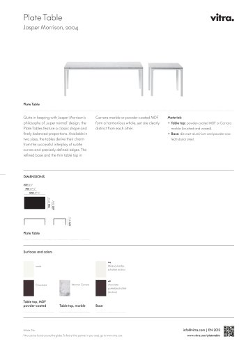 Plate Table Factsheet