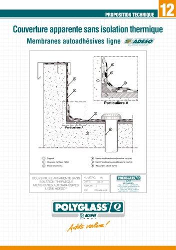 Couverture apparente sans isolation thermique Membranes autoadhésives ligne ADESO