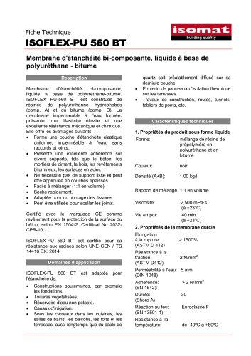 Fiche Technique ISOFLEX-PU 560 BT