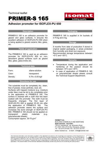 Technical Datasheet PRIMER-S 165