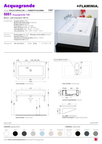 Acquagrande 100  bench - wall