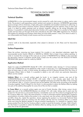 ULTRASATEN TECHNICAL DATA SHEET