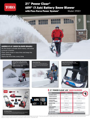 """21"""" Power Clear® 60V* (7.5ah) Battery Snow Blower with Flex-Force Power System®"""
