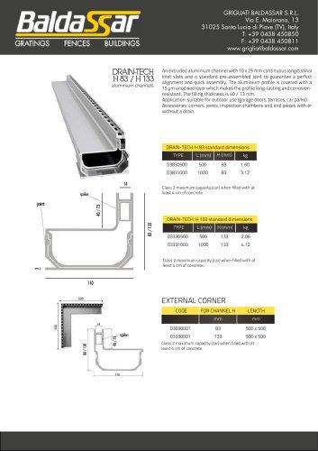 DRAIN-TECH H 83 / H 133 aluminium channels
