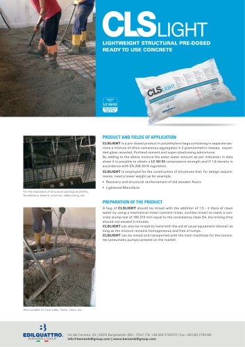 CLS Light Lightweight structural pre-dosed ready to use concrete