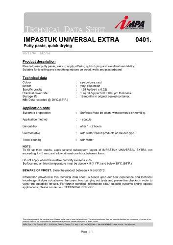 Technical Data Sheet - 0401 IMPASTUK UNIVERSAL EXTRA