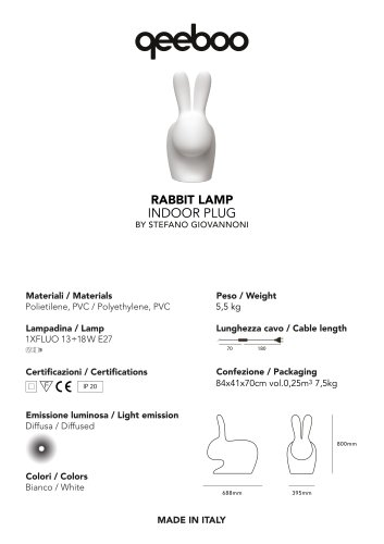 RABBIT LAMP INDOOR PLUG