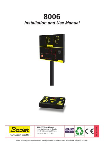 8006 Installation and Use Manual