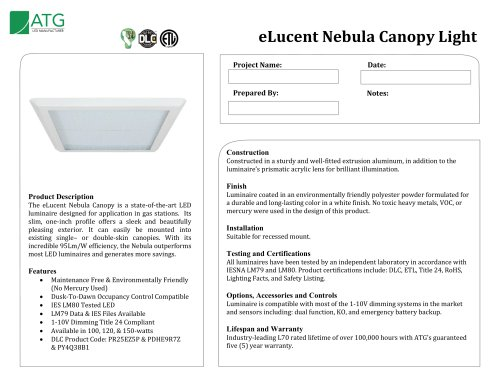 eLucent Nebula Canopy Light