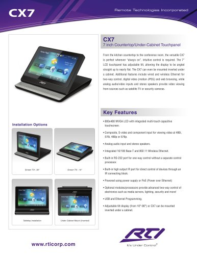 CX7 7 INCH COUNTERTOP/UNDER-CABINET TOUCHPANEL