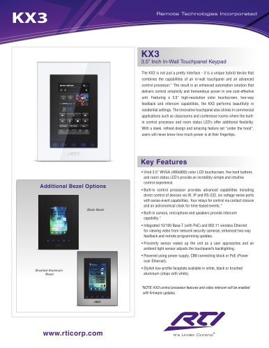 KX3 3.5 INCH IN-WALL TOUCHPANEL KEYPAD