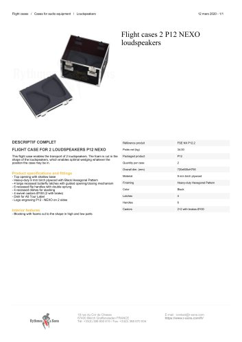 Flight cases 2 P12 NEXO loudspeakers