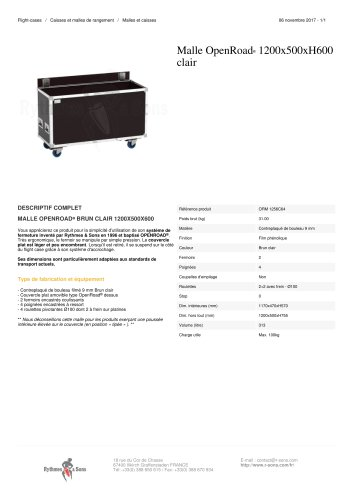 MALLE OPENROAD® 1200X500XH600 CLAIR