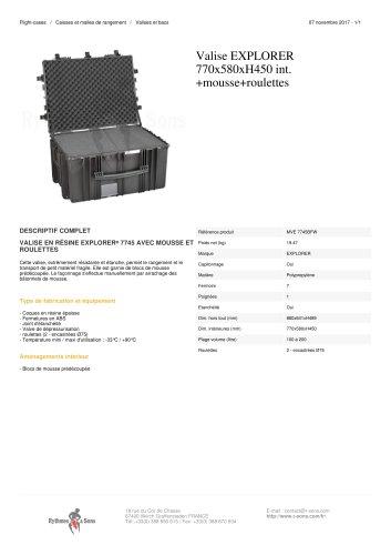 VALISE EXPLORER 770X580XH450 INT. +MOUSSE+ROULETTES