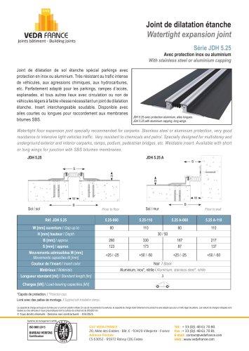 Joint de dilatation étanche - JDH 5.25