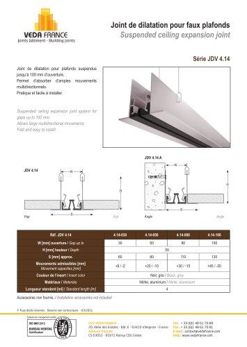 Joint de dilatation pour faux plafonds - JDV 4.14