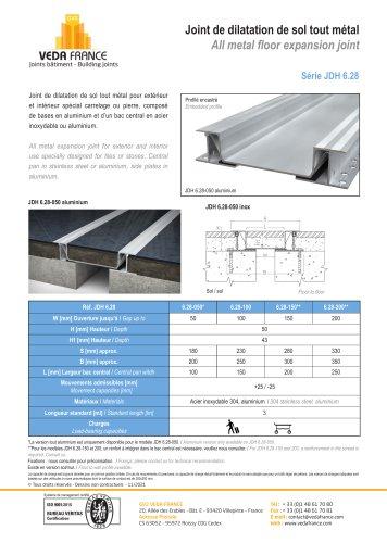 Joint de dilatation de sol sismique - JDH 6.28