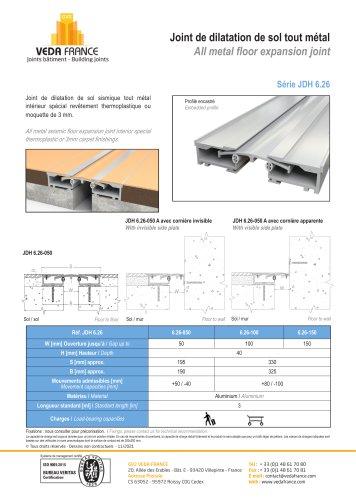 Joint de dilatation de sol sismique - spécial sols souples - JDH 6.26