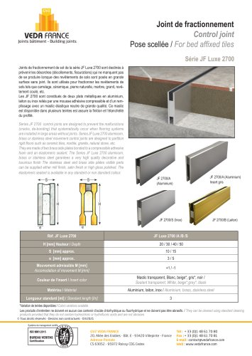 Joint de fractionnement - JF Luxe 2700