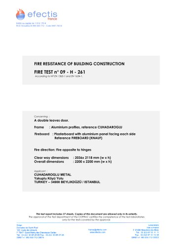 FIRE RESISTANCE OF BUILDING CONSTRUCTION