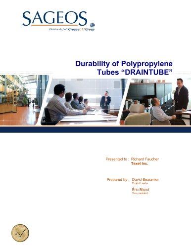 DURABILITY OF POLYPROPYLENE TUBES « DRAINTUBE ».