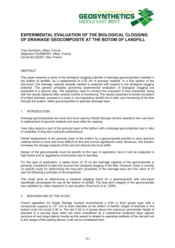 EXPERIMENTAL EVALUATION OF THE BIOLOGICAL CLOGGING OF DRAINAGE GEOCOMPOSITE AT THE BOTOM OF LANDFILL