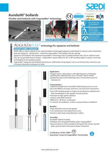 Flexible steel city bollards. Urban, traffic, delineation. Augustaflex
