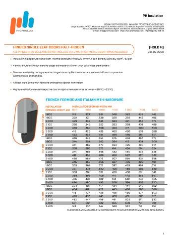 ProfHolod Hinged Single Leaf Doors Half-Hidden (HSLD H) USD