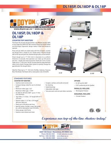 "DL18SP Counter-top 18"" Dough Sheeter   250 pieces/Hour"