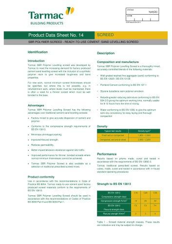 SBR Polymer Screed Data Sheet