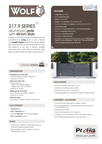 217.9 SERIES aluminium gate with 40 mm slats