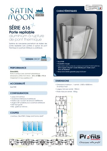 Porte repliable aluminium Satin Moon®