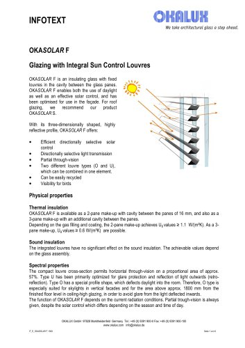 OKASOLAR F Insulating Glass with Integral Sun Control Louvres