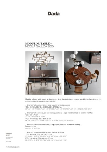 MODULOR TABLE - NICOLA GALLIZIA 2015