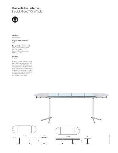 Burdick Group Oval Table product sheet