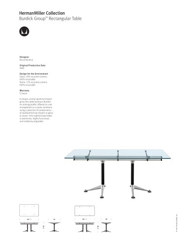 Burdick Group Rectangular Table product sheet