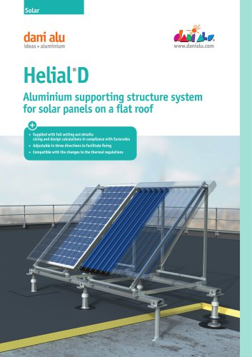 Helial D : Aluminium supporting structure system for solar panels on a flat roof