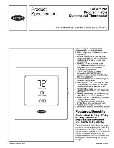 33CS2PPRH-03, 33CS2PP2S-03 Edge® Pro Programmable Commercial Thermostat