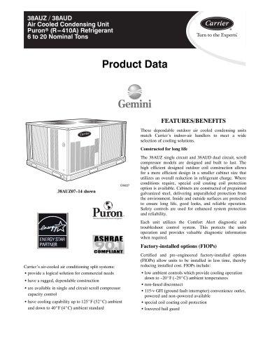 38AUZ / 38AUD Air Cooled Condensing Unit Puronr (R---410A) Refrigerant