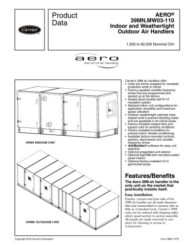 AERO® 39MN,MW03-110 Indoor and Weathertight Outdoor Air Handlers