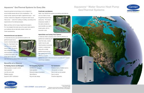 AQUAZONE? Water Source Heat Pumps - GeoThermal Systems